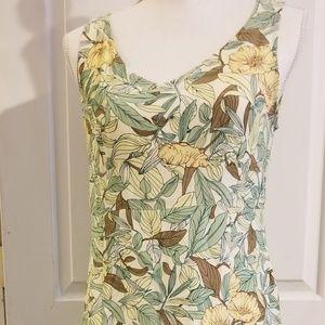 Eddie Bauer Floral Dress Sz 6P Yellow/Green Rayon
